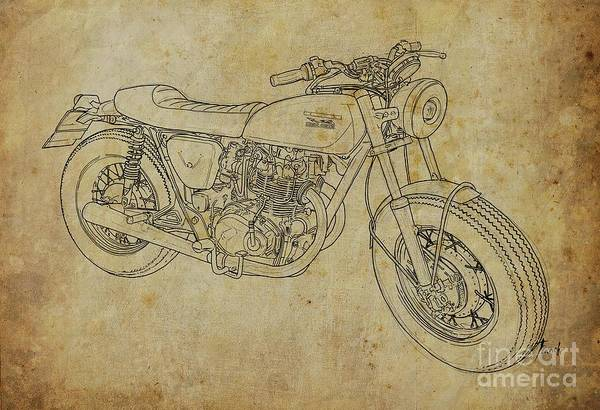 Handmade Wall Art - Digital Art - Moto Italiana. Original Handmade Drawing by Drawspots Illustrations