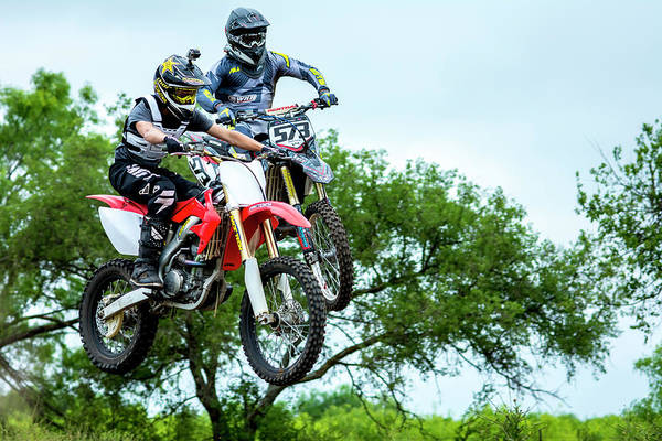 Photograph - Motocross Battle by David Morefield