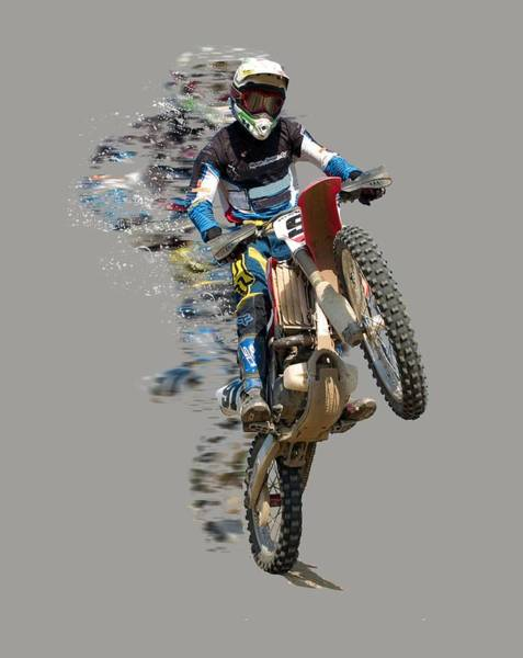 Bike Racing Painting - Motocross Rider With Flying Pieces by Elaine Plesser