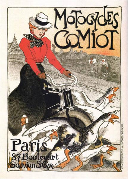 Office Decor Mixed Media - Motocycles Comiot - Paris - Vintage Advertising Poster by Studio Grafiikka