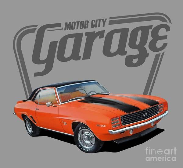 Wall Art - Digital Art - Motor City Garage Camaro by Paul Kuras