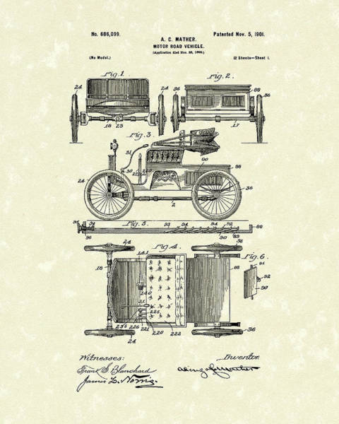 Vehicle Drawing - Motor Vehicle 1901 Patent Art by Prior Art Design