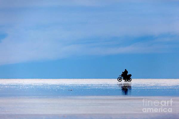 Photograph - Motorbike Trip Across The Salar De Uyuni by James Brunker