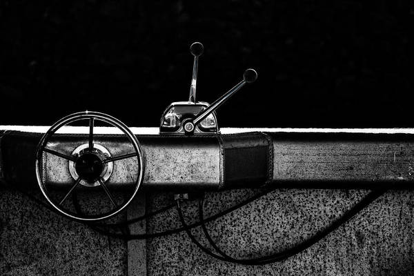 Steering Wheel Wall Art - Photograph - Motorboat Black And White by Carol Leigh