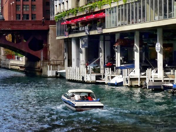 Photograph - Motorboat Near Dearborn Street Bridge by Susan Savad