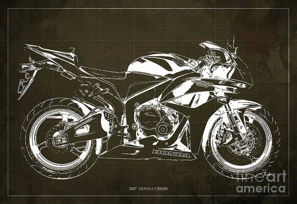 Attack Drawing - Motorcycle Blueprint Honda Cbr600 Gift For Him Gift For Her by Drawspots Illustrations