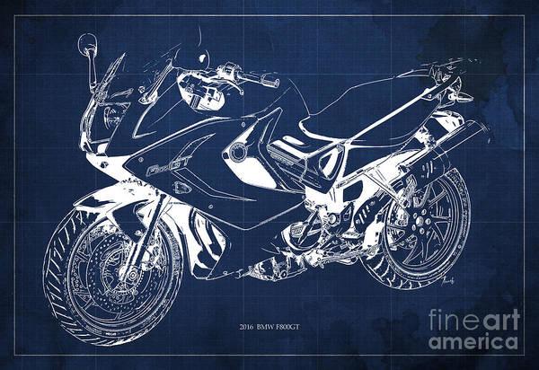 Bmw Painting - Motorcycle Bmw F800gt 2016 Blueprint, Original Artwork by Drawspots Illustrations