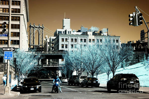 Photograph - Motorcycle In Dumbo Infrared by John Rizzuto