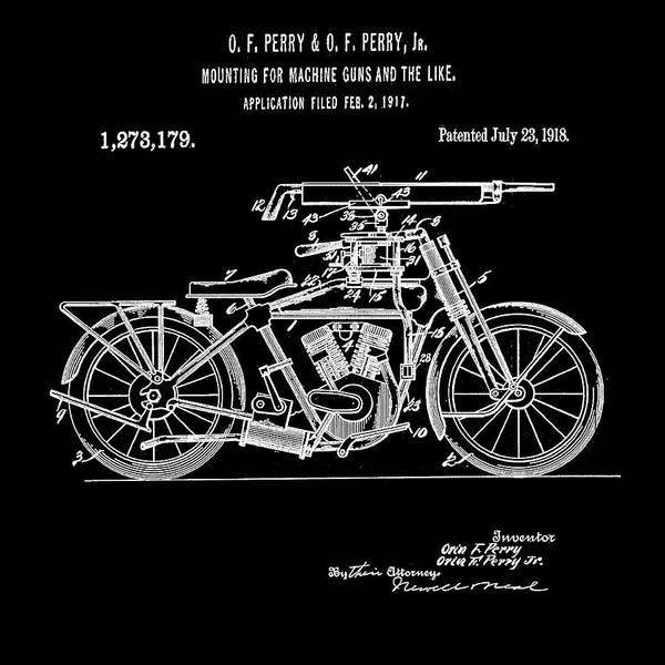 Digital Art - Motorcycle Machine Gun Patent 1918 In Black by Bill Cannon