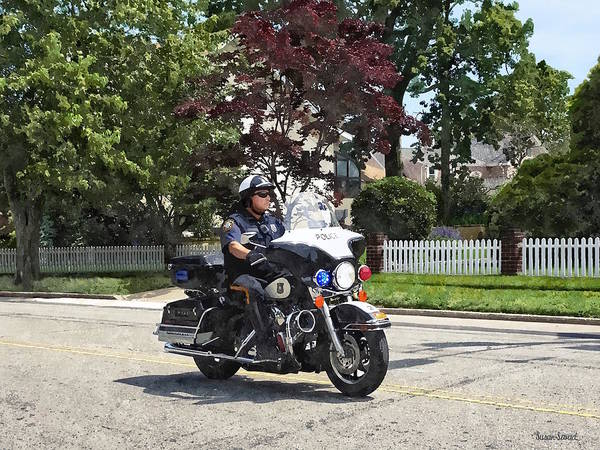 Photograph - Motorcycle Police Officer by Susan Savad
