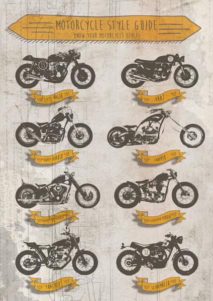 Chopper Wall Art - Digital Art - Motorcycle Style Guide by Yurdaer Bes