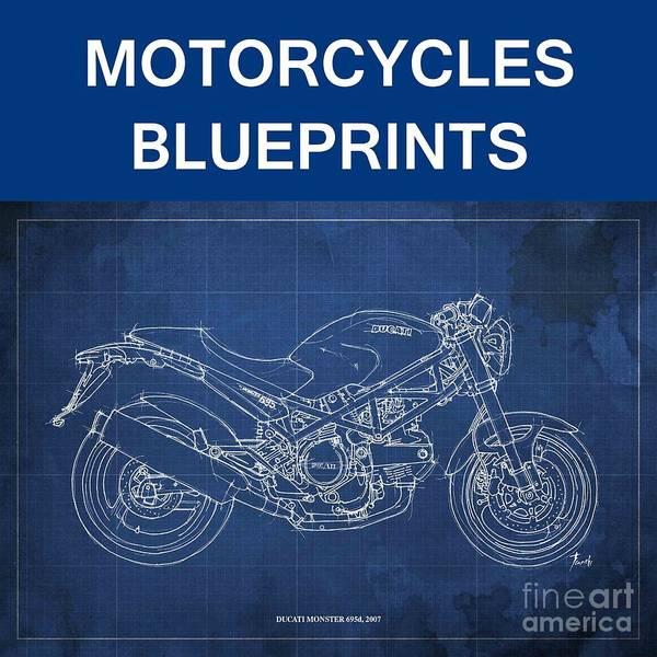 Wall Art - Drawing - Motorcycles Blueprints by Drawspots Illustrations