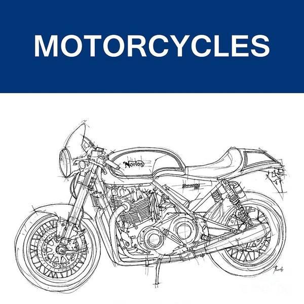 Wall Art - Drawing - Motorcycles by Drawspots Illustrations