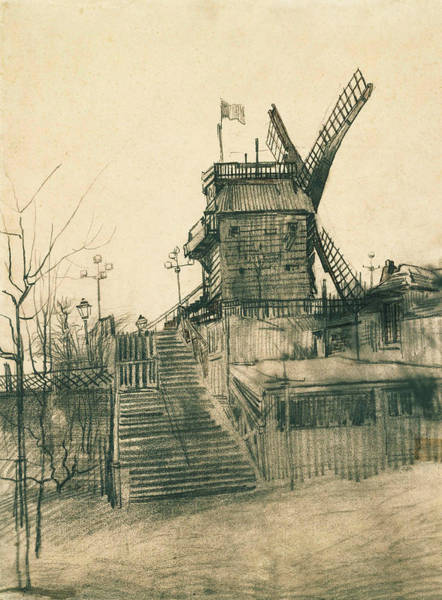 French Artist Drawing - Moulin De La Galette by Vincent van Gogh