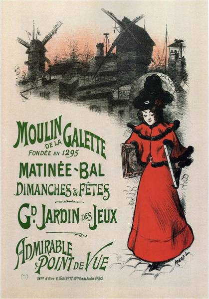 Business Mixed Media - Moulin De La Galette - Windmill And Associated Business - Vintage Advertising Poster by Studio Grafiikka