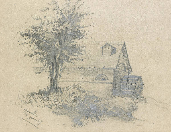 Impressionist Drawing - Moulin On The Lezarde by Claude Monet