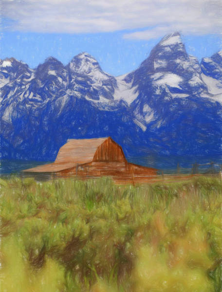 Spring Mountains Mixed Media - Moulton Barn Color Sketch by Dan Sproul
