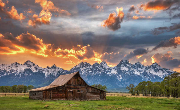 Teton Photograph - Moulton Barn Sunset Fire by Darren White