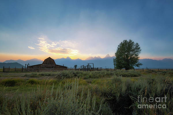 Moulton Wall Art - Photograph - Moulton Barn Sunset On Mormon Row by Michael Ver Sprill