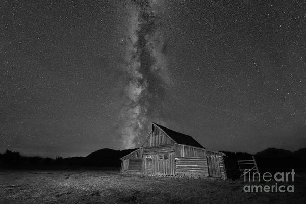 Moulton Wall Art - Photograph - Moulton Ranch Cabin Milky Way On Mormon Row Bw by Michael Ver Sprill