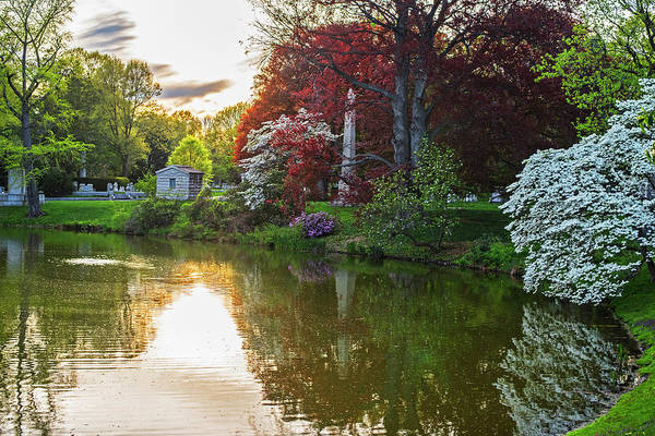 Photograph - Mount Auburn Cemetery In The Spring Cambridge Ma Sunset by Toby McGuire
