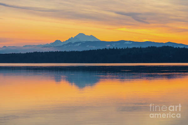 Wall Art - Photograph - Mount Baker Bay Sunrise Reflection by Mike Reid