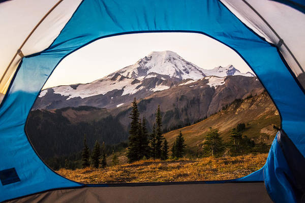 Divided Photograph - Mount Baker Bedroom Window by Pelo Blanco Photo