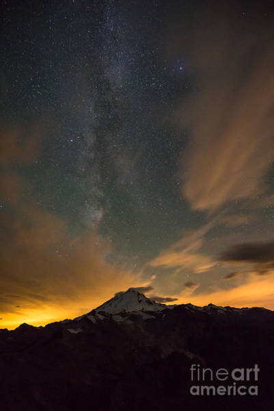 Alpenglow Photograph - Mount Baker Milky Way Around Midnight by Mike Reid