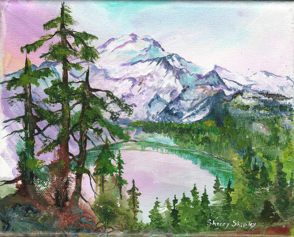 Painting - Mount Baker Mirror Lake by Sherry Shipley