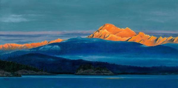 Skagit Valley Painting - Mount Baker Sunset by Marie-Claire Dole