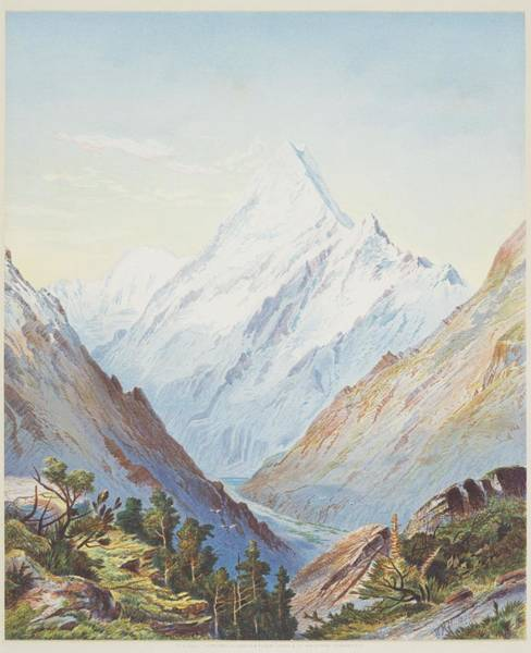 Painting - Mount Cook. From New Zealand Graphic And Descriptive, 1875, By William Hodgkins by Celestial Images