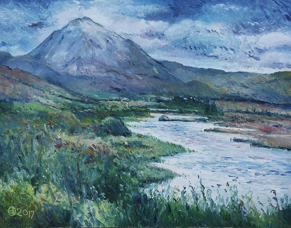 Donegal Painting - Mount Errigal Gweedore Ireland 2017 by Enver Larney