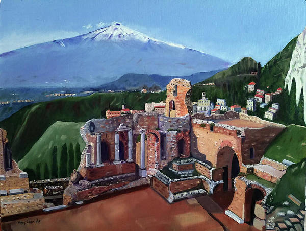 Mount Etna And Greek Theater In Taormina Sicily Art Print