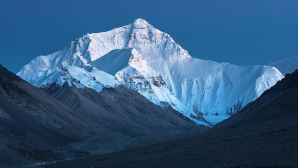 Photograph - Mount Everest At Blue Hour, Rongbuk, 2007 by Hitendra SINKAR
