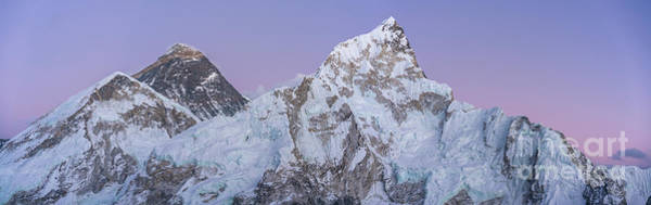 Wall Art - Photograph - Mount Everest Lhotse And Ama Dablam Just After Sunset Panorama by Mike Reid