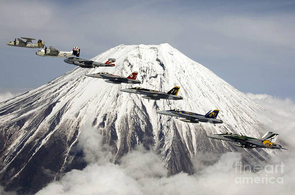 Dod Wall Art - Painting - Mount Fuji Flight by Celestial Images