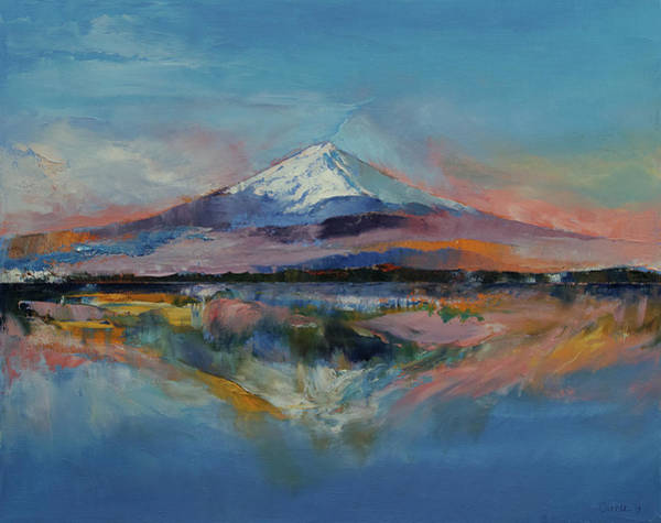 Oil Pastel Painting - Mount Fuji by Michael Creese
