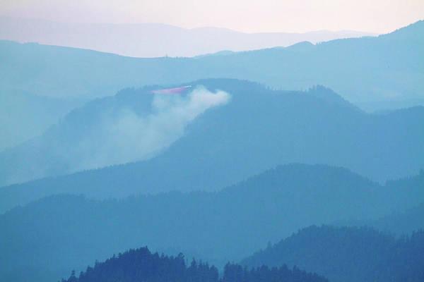 Mount Hagen Photograph - Mount Hagan Wildfire And Retardant Plane by Robert Mutch