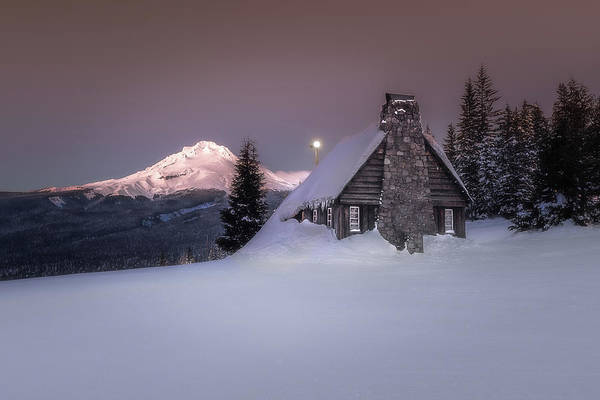 Mount Hood Photograph - Mount Hood From The Skibowl Historic Warming Hut by Jeffrey Green