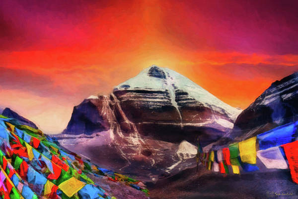 Mounted Digital Art - Mount Kailash - The Pillar Of The World by Serge Averbukh