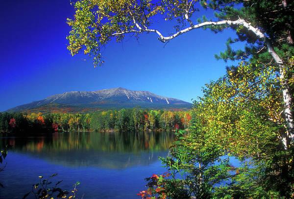 Baxter State Park Photograph - Mount Katahdin From Touge Pond by John Burk