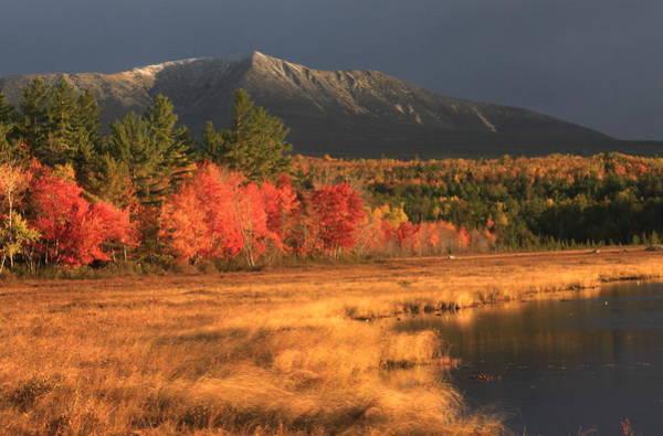 Baxter State Park Photograph - Mount Katahdin Snow Foliage by John Burk