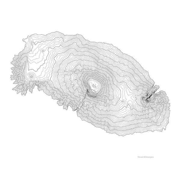Wall Art - Digital Art - Mount Kilimanjaro Art Print Contour Map Of Mount Kilimanjaro In  by Jurq Studio