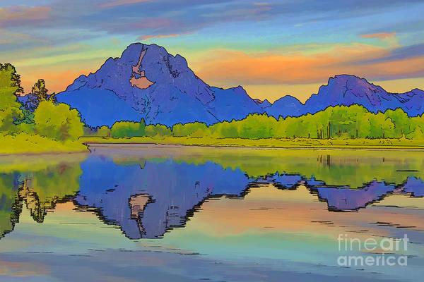 Mounted Digital Art - Mount Moran Cartoon by Teresa Zieba