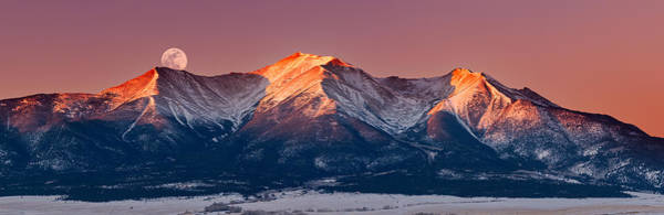 Photograph - Mount Princeton Moonset At Sunrise by Darren White