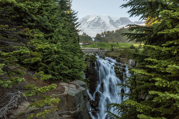 Photograph - Mount Rainier And Myrtle Falls, Late Afternoon by Belinda Greb