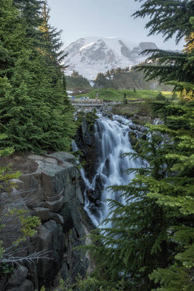 Photograph - Mount Rainier And Myrtle Falls, Late Afternoon, Vertical by Belinda Greb