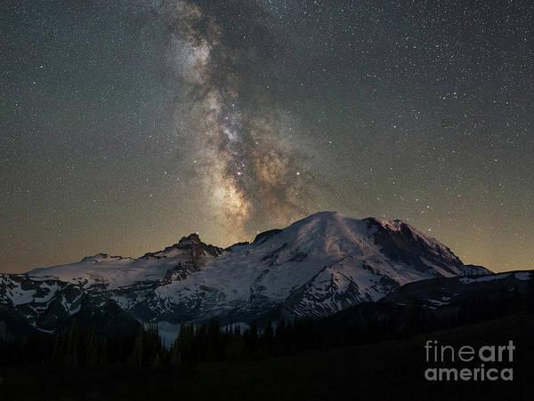 Photograph - Mount Rainier At Night  by Michael Ver Sprill
