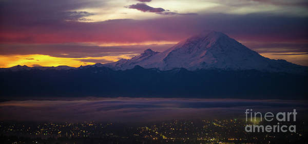 Wall Art - Photograph - Mount Rainier Dark Sunrise by Mike Reid