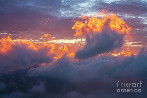 Wall Art - Photograph - Mount Rainier Fiery Sunset Clouds by Mike Reid